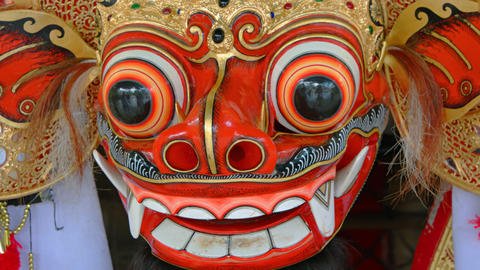 Closeup of Balinese Barong Mask. Part of Cultural Dance Costume Footage