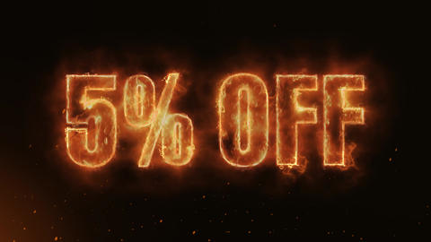 5% OFF Text Electric Energy Revealed Hot Glowing Burning Fire Motion Background Animation