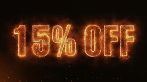 15% OFF Text Electric Energy Revealed Hot Glowing Burning Fire Motion Background Animation