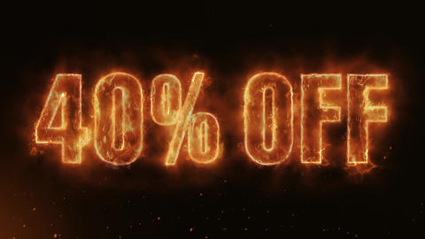 40% OFF Text Electric Energy Revealed Hot Glowing Burning Fire Motion Background Animation