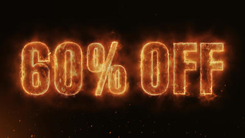 60% OFF Text Electric Energy Revealed Hot Glowing Burning Fire Motion Background Animación