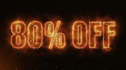 80% OFF Text Electric Energy Revealed Hot Glowing Burning Fire Motion Background Animation