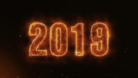 2019 Text Electric Energy Revealed Hot Glowing Burning Fire Motion Background Animation