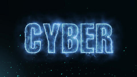 Cyber Text Electric Energy Revealed Hot Glowing Burning Fire Motion Background Animation