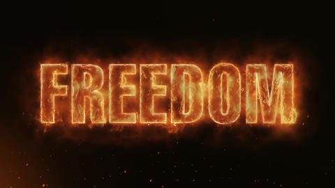 Freedom Text Electric Energy Revealed Hot Glowing Burning Fire Motion Background Animation