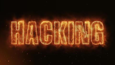 Hacking Text Electric Energy Revealed Hot Glowing Burning Fire Motion Background Animation