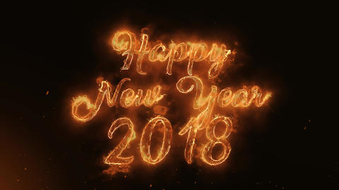 Happy new year 2018 Text Electric Energy Revealed Hot Glowing Burning Fire Animation
