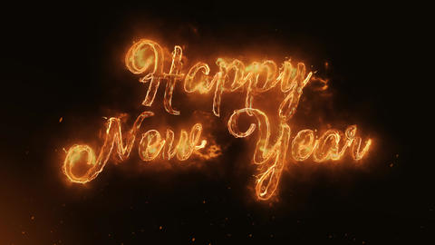 Happy New Year Text Electric Energy Revealed Hot Glowing Burning Fire Motion Animation