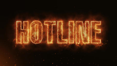 Hotline Text Electric Energy Revealed Hot Glowing Burning Fire Motion Background Animation