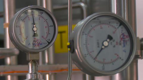 Pressure gauge, measuring instrument close up Footage