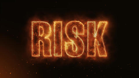 Risk Text Electric Energy Revealed Hot Glowing Burning Fire Motion Background Animation