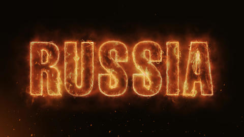 RUSSIA Text Electric Energy Revealed Hot Glowing Burning Fire Motion Background Animation