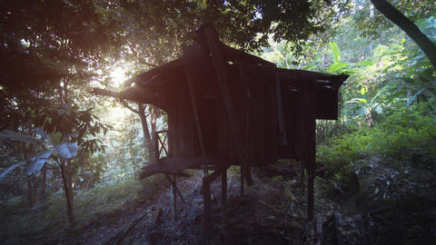 Tiny House for Agricultural Workers on Rubber Plantation. with Sound Footage