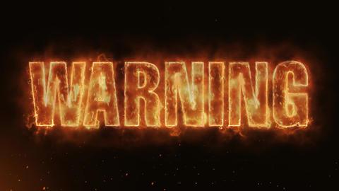WARNING Text Electric Energy Revealed Hot Glowing Burning Fire Motion Background Animation