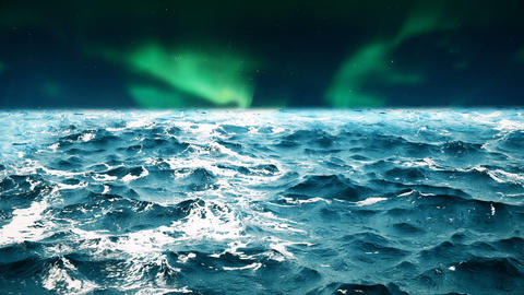 High quality animation of ocean waves with beautiful northern lights on the Animation