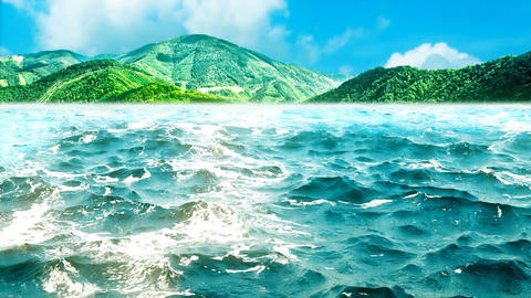 High quality animation of ocean waves with beautiful green mountains on the Animation