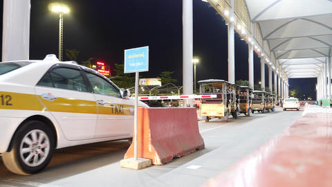Phnom Penh international airport taxi stand Footage