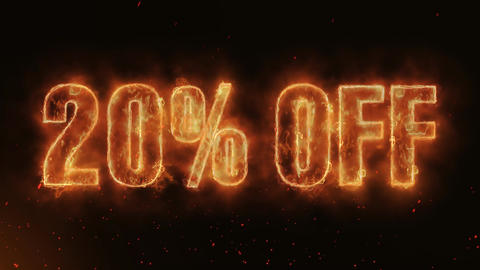 20% OFF Word Hot Burning on Realistic Fire Flames continuous seamlessly loop Animation