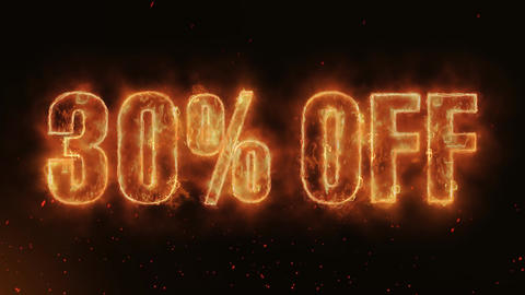 30% OFF Word Hot Burning on Realistic Fire Flames... Stock Video Footage