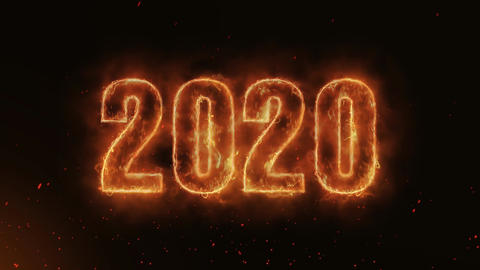 2020 Word Hot Burning on Realistic Fire Flames continuous seamlessly loop Animation