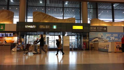 Narita Airport Terminal 1 in the morning Footage