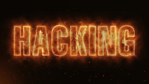 Hacking Word Hot Burning on Realistic Fire Flames continuous seamlessly loop Animation