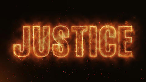 Justice Word Hot Burning on Realistic Fire Flames continuous seamlessly loop Animation