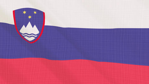 slovenia flag waving in the wind. Icon in the frame. Animation loop Bild