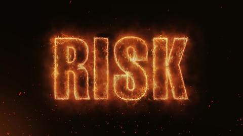 Risk Word Hot Burning on Realistic Fire Flames continuous seamlessly loop Animation