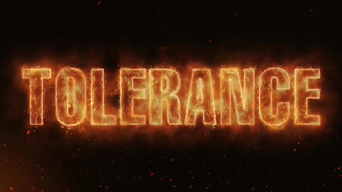 Tolerance Word Hot Burning on Realistic Fire Flames continuous seamlessly loop Animation