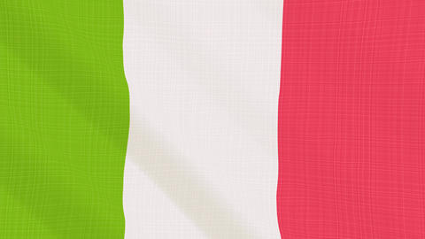 italy flag waving in the wind. Icon in the frame. Animation loop Bild