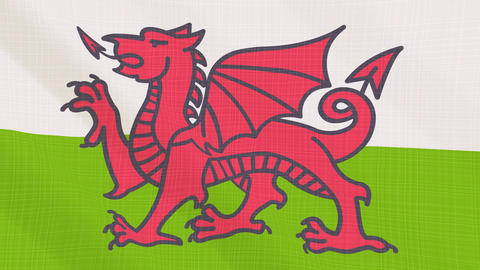 wales flag waving in the wind. Icon in the frame. Animation loop Bild