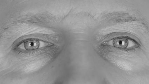 Close-up in black and white on man's eyes, calm eyes, relax Footage