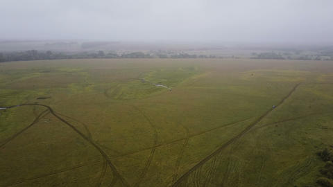 Aerial View. Panoramic Autumn landscape. Landscape with field and trees in the Footage