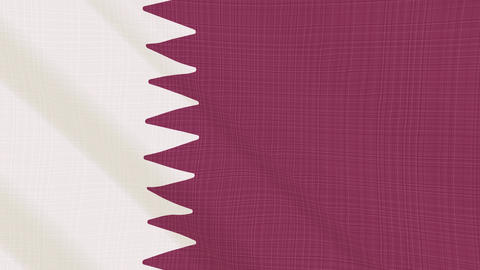 Qatar flag waving in the wind. Icon in the frame. Animation loop Bild