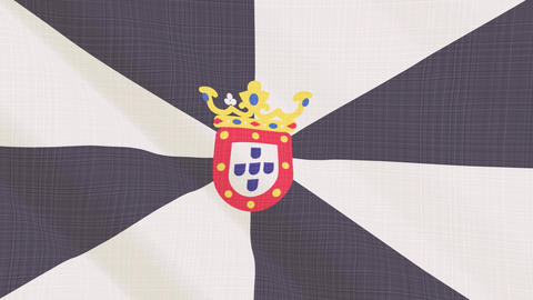 Ceuta flag waving in the wind. Icon in the frame. Animation loop Bild