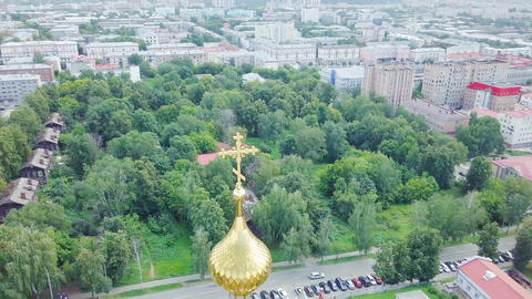 Cathedral of the Holy Archangel Michael. Izhevsk, Russia, From Dron, Point of Footage
