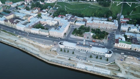 The river terminal of Nizhny Novgorod during sunset. View from the air from the Footage