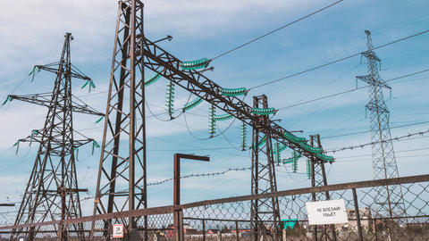 High-voltage wires, power station. Energy industry. Production and Footage