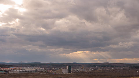 Evening clouds over the suburbs of Yekaterinburg, Russia. Time Lapse Footage