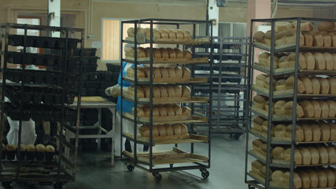 manufacture of bread products in the shop Footage