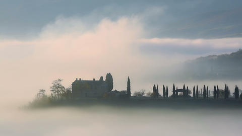 Dense Morning Fog in Tuscany. Time Lapse Footage
