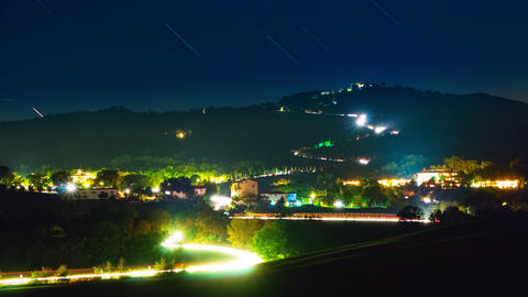 Starry Sky and Night Traffic. Time Lapse 4k Footage