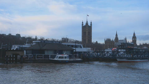 Houses of Parliament and River Thames London Footage