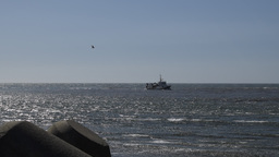 Fishing boat returning to port Footage
