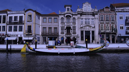 Traditional boats on the Central Canal in Aveiro Portugal Footage