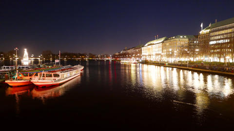 Binnenalster Hamburg Germany at night - time lapse shot Footage