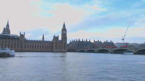 Wide angle shot over The Houses of Parliament Westminster London Live Action
