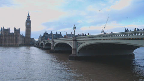 Westminster Bridge over River Thames London Live Action