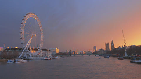 Amazing sunset over Westminster and Houses of Parliament Live Action